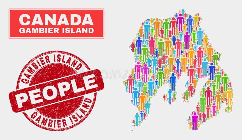 Gente de la población del mapa de la isla de Gambier y sello del Grunge libre illustration