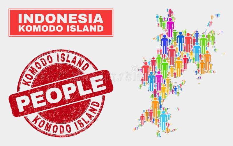 Gente de la población del mapa de la isla de Komodo y filigrana corroída stock de ilustración