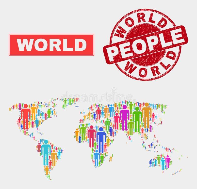 Gente de la población del mapa del mundo y filigrana texturizada libre illustration
