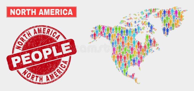 Gente de la población del mapa de Norteamérica y sello texturizado libre illustration