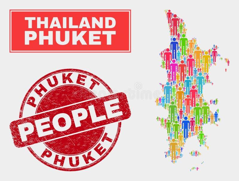 Gente de la población del mapa de Phuket y filigrana de goma ilustración del vector