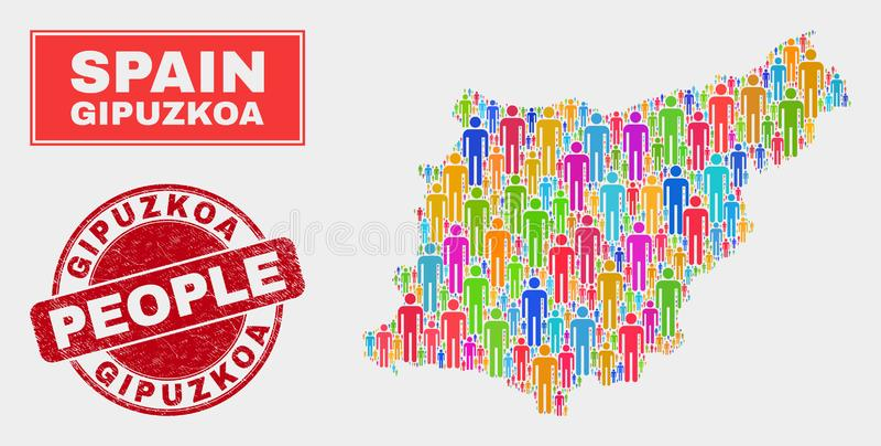 Gente de la población del mapa de la provincia de Gipuzkoa y sello del sello de goma libre illustration