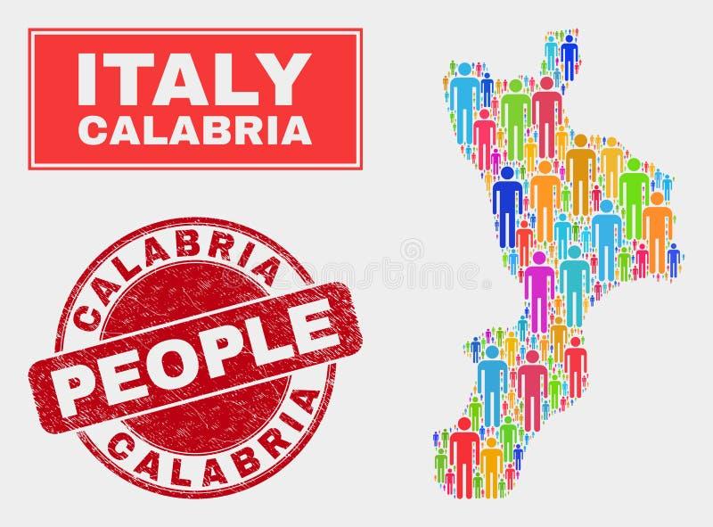 Gente de la población del mapa de la región de Calabria y sello sucio libre illustration