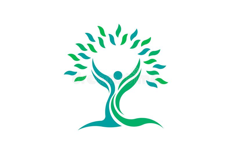 Gente de la salud de la hoja de la naturaleza del árbol Símbolo del logotipo del vector ilustración del vector