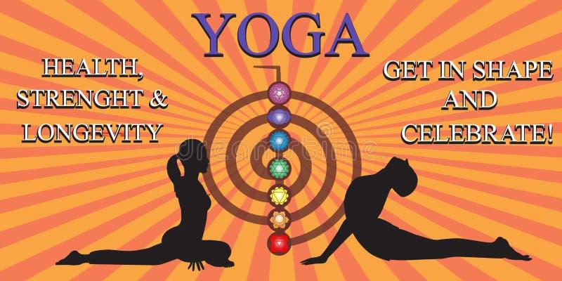 Gente de la yoga que entrena y que medita ilustración del vector