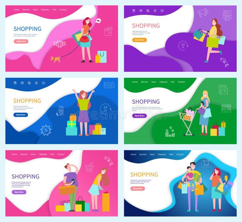 Gente de las compras con los paquetes y los productos comprados libre illustration