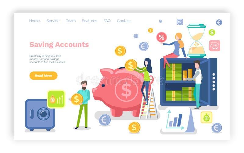 Gente de las cuentas de ahorro con las monedas de los dólares del dinero stock de ilustración
