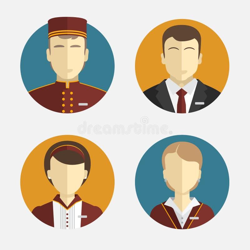 Gente de los avatares El personal del hotel Recepción, cortinas, encargado de la criada Diseño plano del vector ilustración del vector