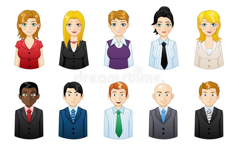 Gente de los avatares de los iconos fijada - ejemplo ilustración del vector