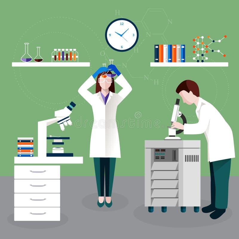 Gente de los científicos y composición del laboratorio stock de ilustración