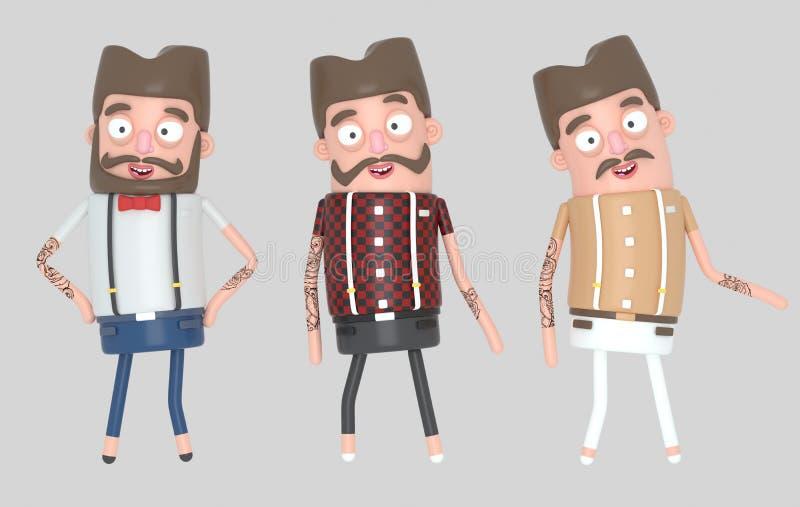 Gente de los hombres del inconformista ilustración 3D stock de ilustración