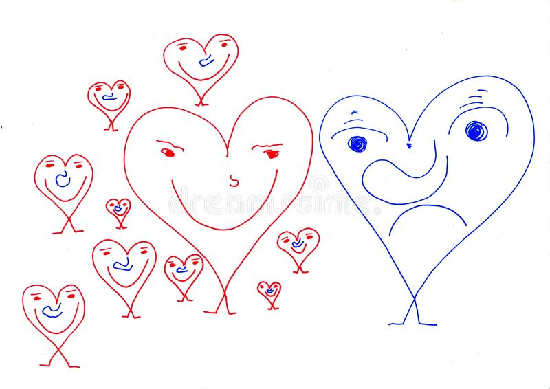 Gente de los papeles - sorpresa del día de tarjetas del día de San Valentín fotografía de archivo libre de regalías