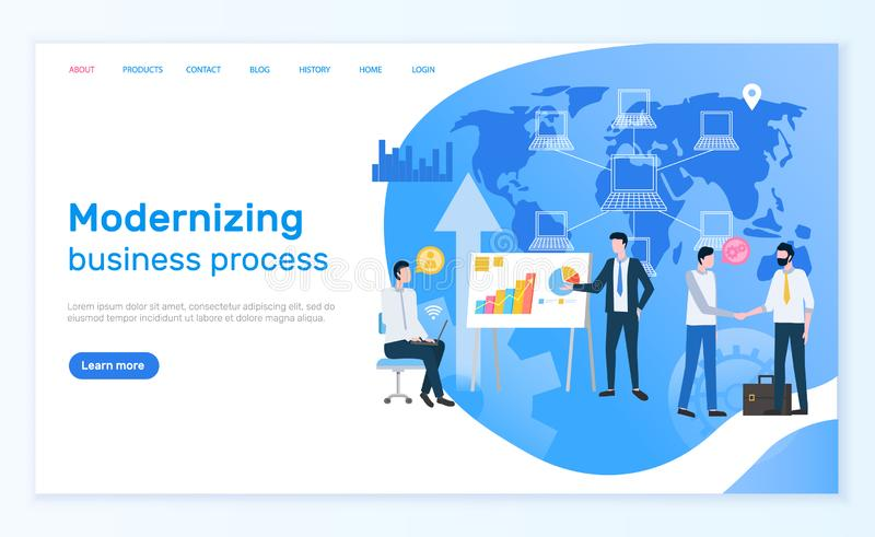 Gente de modernización del proceso de negocio en red stock de ilustración