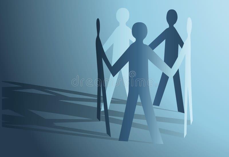 Gente de papel abstracta que se sostiene para las manos ilustración del vector