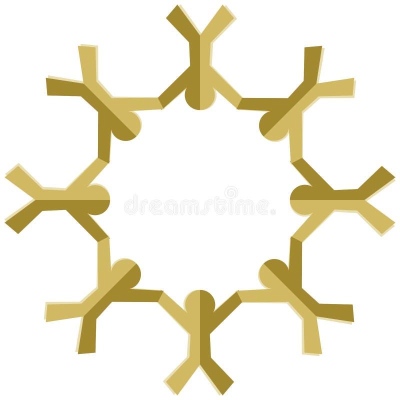 Gente de papel de oro que lleva a cabo las manos ilustración del vector