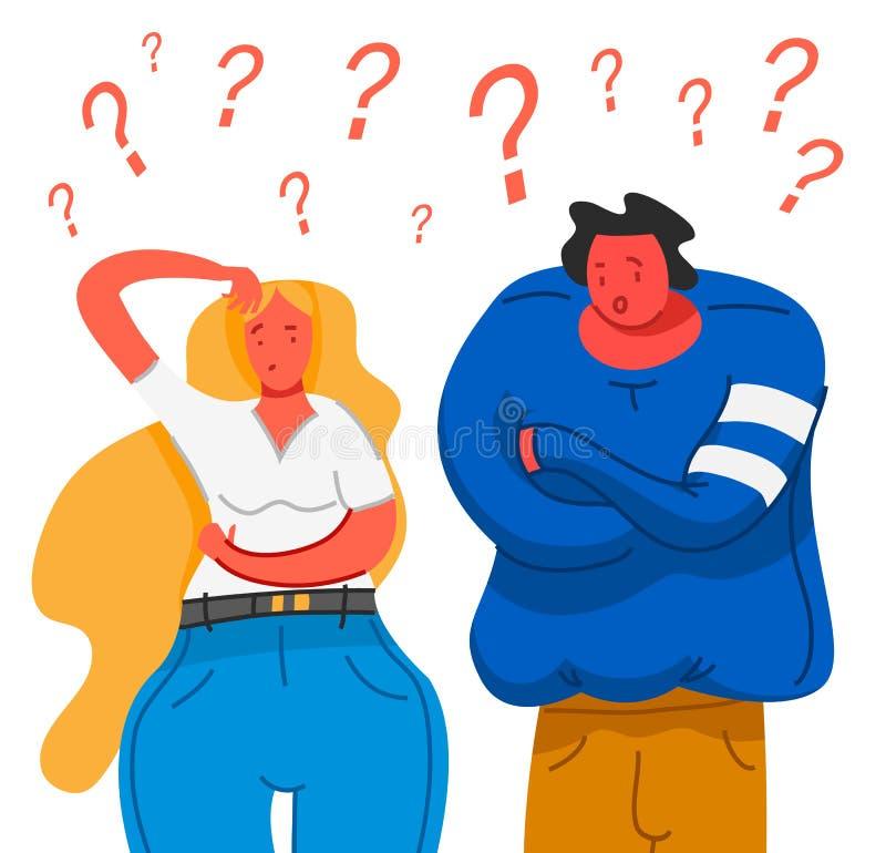 Gente de pensamiento Pares jovenes pensativos entender el problema La mujer y el individuo pensativos encuentran la solución acer ilustración del vector