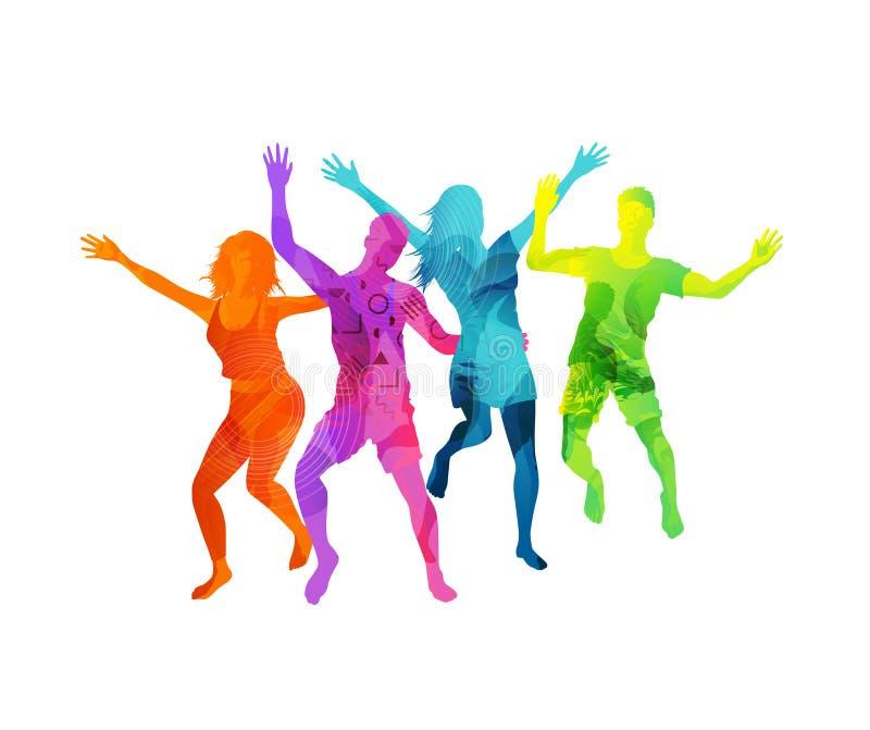 Gente de salto activa feliz ilustración del vector