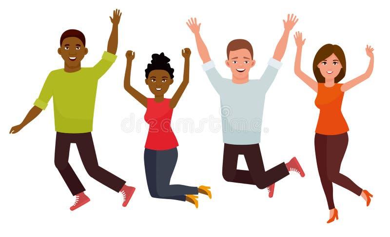 Gente de salto del grupo de estudiantes joven aislada en un fondo blanco Ejemplo del carácter del vector de la historieta ilustración del vector