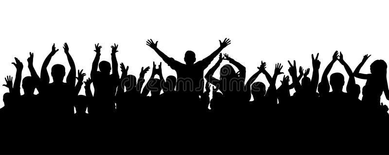 Gente del aplauso, silueta de la muchedumbre La audiencia alegre aplaude stock de ilustración