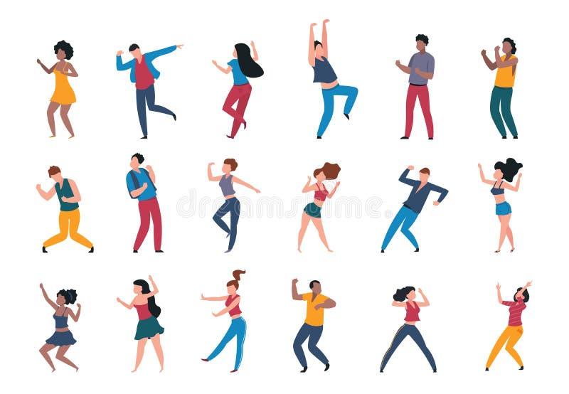 Gente del baile Muchedumbre de moda de la historieta del partido, caracteres de baile jovenes modernos, pares de los amigos y per stock de ilustración