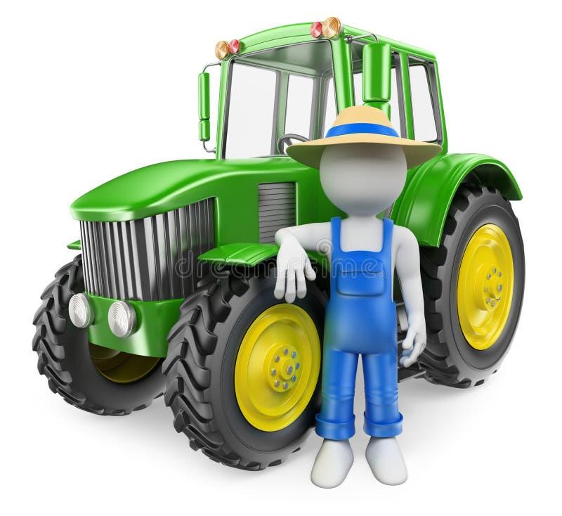 gente del blanco 3d Granjero con el tractor ilustración del vector