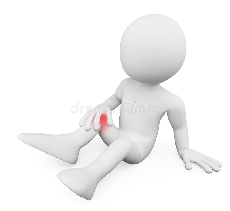 gente del blanco 3d Hombre con dolor de la rodilla stock de ilustración