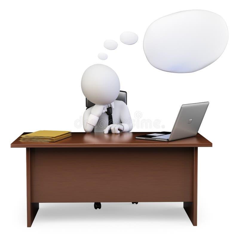 gente del blanco 3d Hombre de negocios que piensa en su oficina ilustración del vector