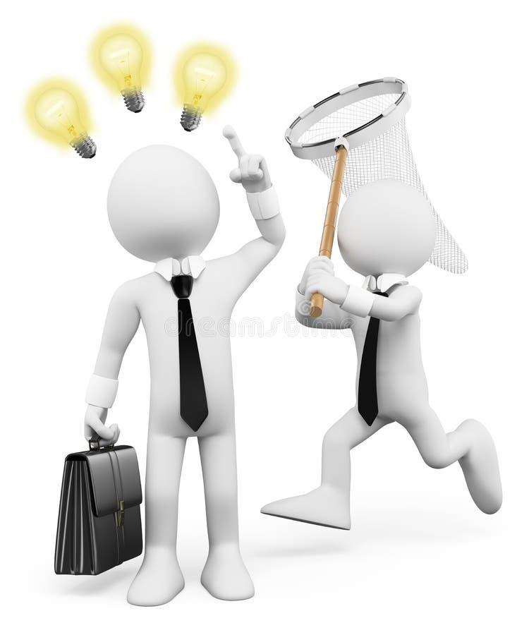gente del blanco 3d Hombre de negocios que roba ideas de la inspiración libre illustration
