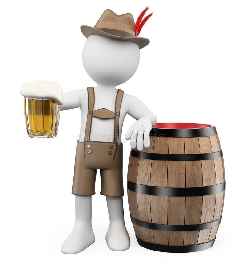 gente del blanco 3d Hombre de Oktoberfest con un barril de cerveza ilustración del vector