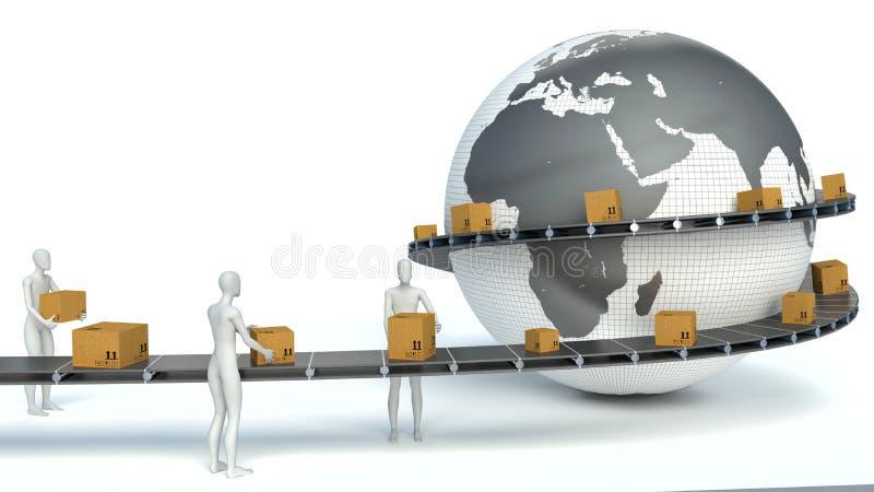 gente del blanco 3d Servicio de salida internacional ilustración del vector