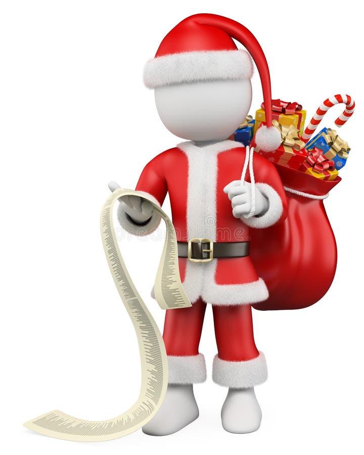 gente del blanco de la Navidad 3D. Papá Noel con la lista ilustración del vector