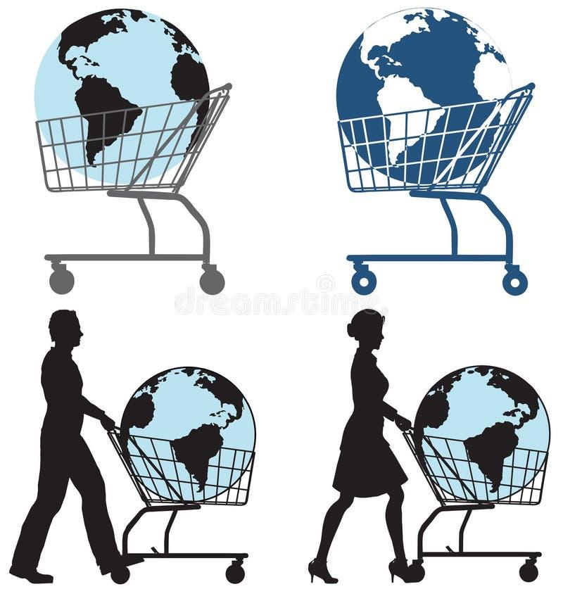 Gente del carro de compras de la tierra ilustración del vector