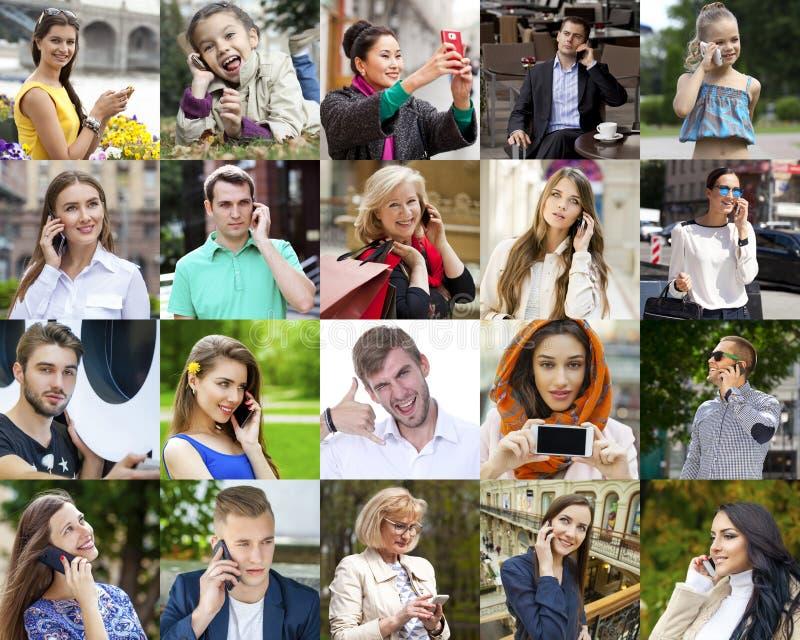 Gente del collage que llama por el teléfono imagen de archivo libre de regalías