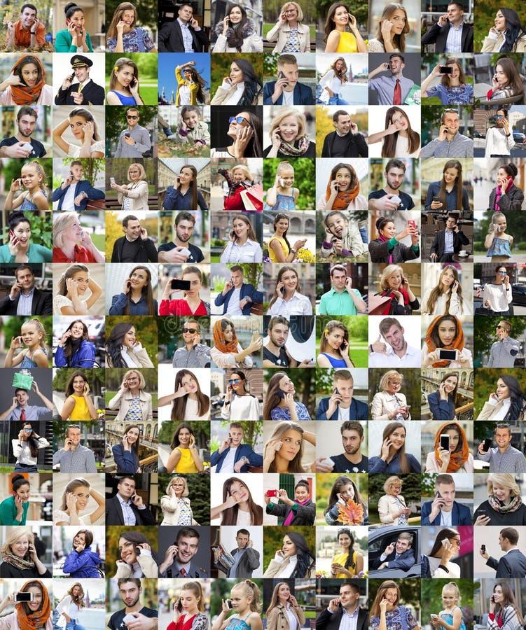 Gente del collage que llama por el teléfono imagen de archivo