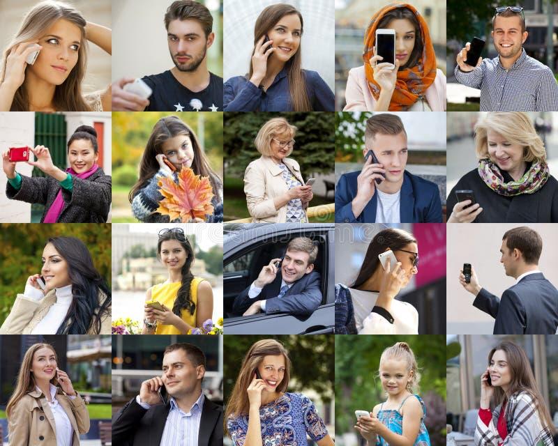 Gente del collage que llama por el teléfono foto de archivo