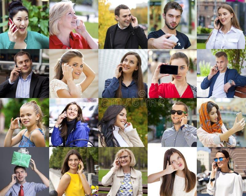Gente del collage que llama por el teléfono imágenes de archivo libres de regalías