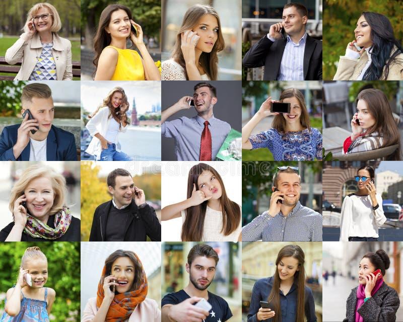 Gente del collage que llama por el teléfono fotos de archivo