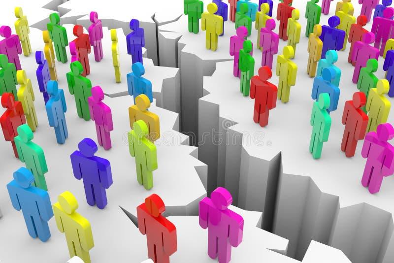 Gente del color 3d y tierra agrietada. stock de ilustración
