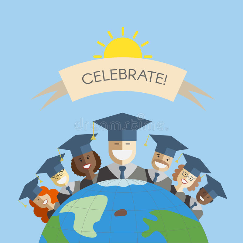 Gente del concepto de la graduación y de la educación del mundo ilustración del vector