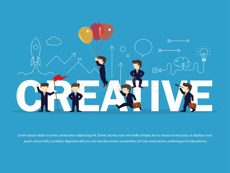 Gente del funcionamiento de la historieta pequeña con la palabra grande creativa Ejemplo del vector para el dise?o de negocio e i stock de ilustración