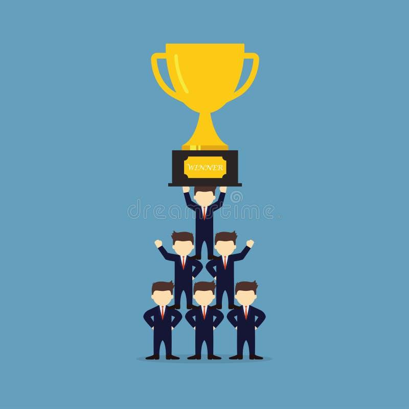 Gente del funcionamiento de la historieta peque?a con el trofeo Ejemplo del vector para el dise?o de negocio e infographic stock de ilustración