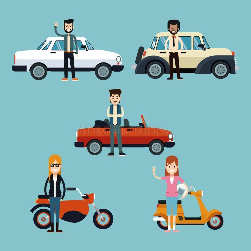 Gente del grupo con el lujo de la motocicleta y del coche stock de ilustración