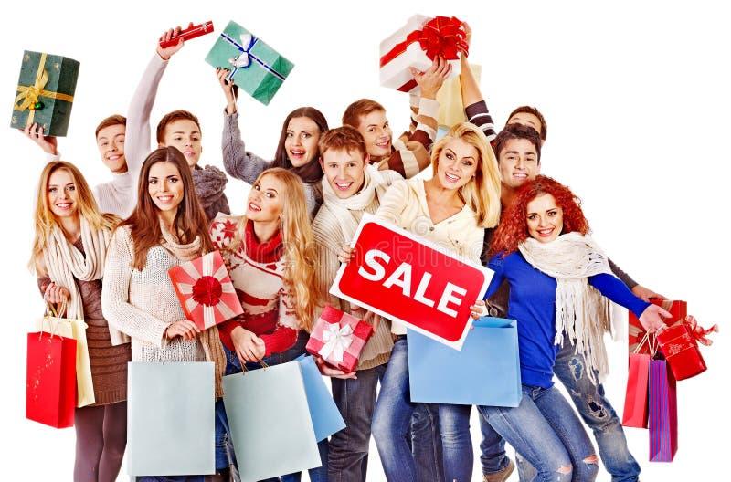 Gente del grupo con venta del tablero. imagen de archivo libre de regalías
