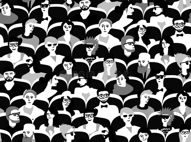 Gente del grupo de la audiencia que sienta el modelo inconsútil blanco y negro ilustración del vector