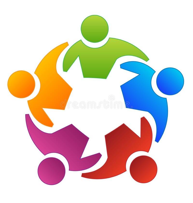 Gente del grupo del trabajo en equipo que trabaja junto el logotipo del vector ilustración del vector