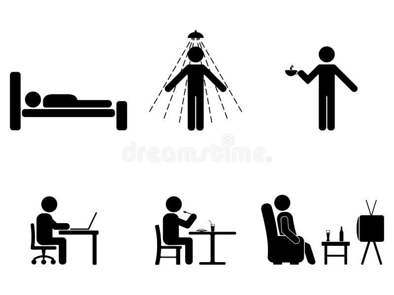 Gente del hombre cada acción del día Figura del palillo de la postura Durmiendo, consumición, trabajando, pictograma de la muestr ilustración del vector
