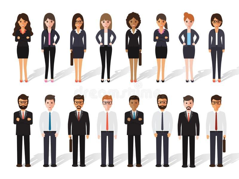 Gente del hombre de negocios y de la empresaria stock de ilustración