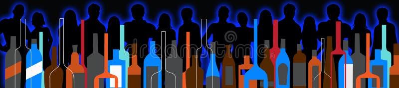 Gente del partito del fondo e bottiglie senza cuciture del liquore royalty illustrazione gratis