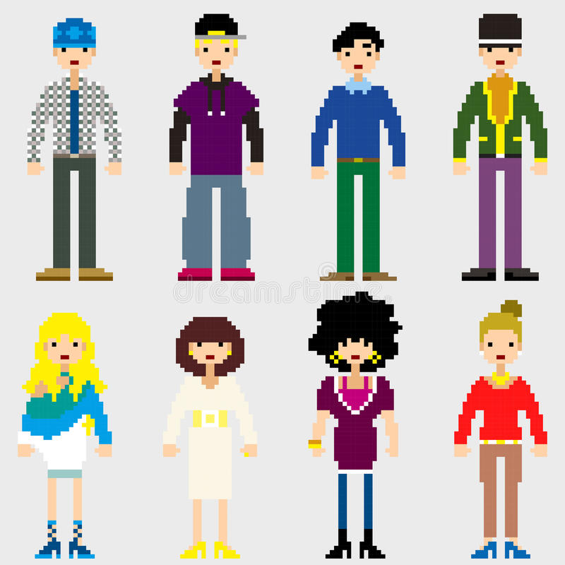 Gente del pixel de la moda stock de ilustración