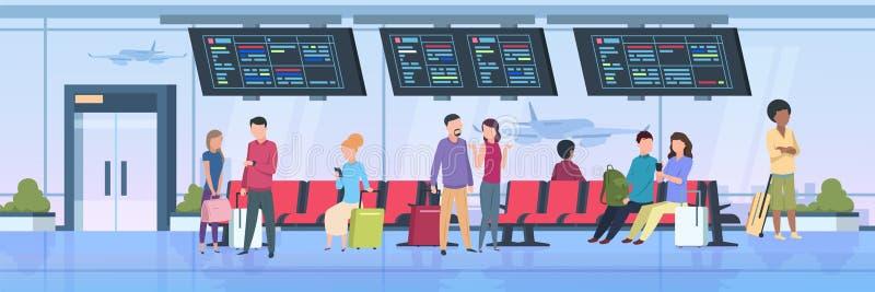 Gente del terminal de aeropuerto Viajeros que sientan esperar con los pasajeros de la historieta del equipaje de vacaciones Ejemp ilustración del vector